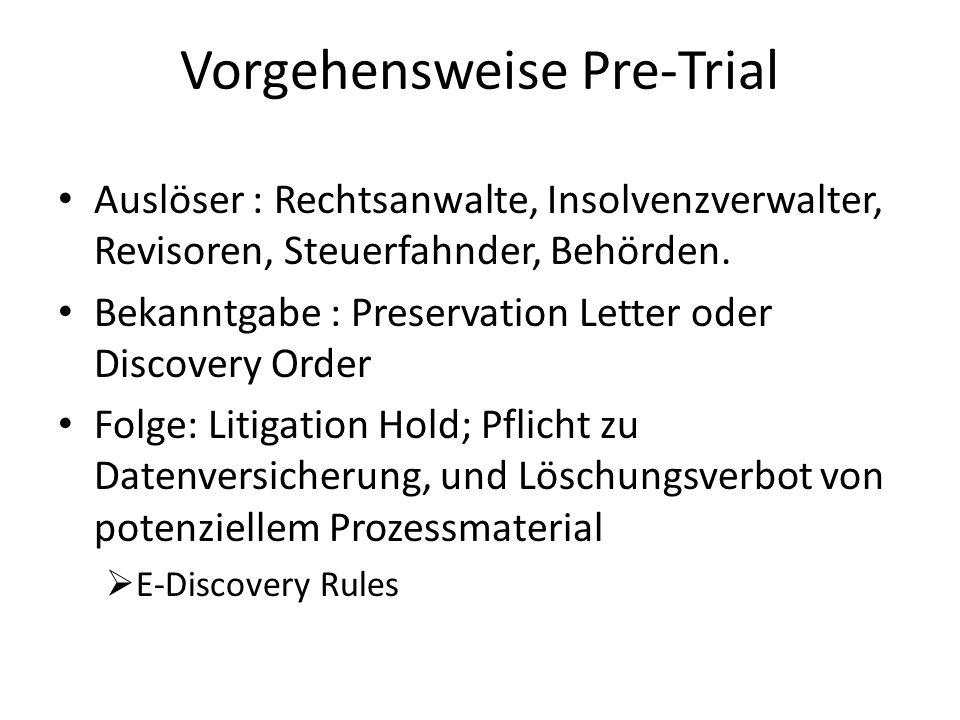 Vorgehensweise Pre-Trial Auslöser : Rechtsanwalte, Insolvenzverwalter, Revisoren, Steuerfahnder, Behörden. Bekanntgabe : Preservation Letter oder Disc