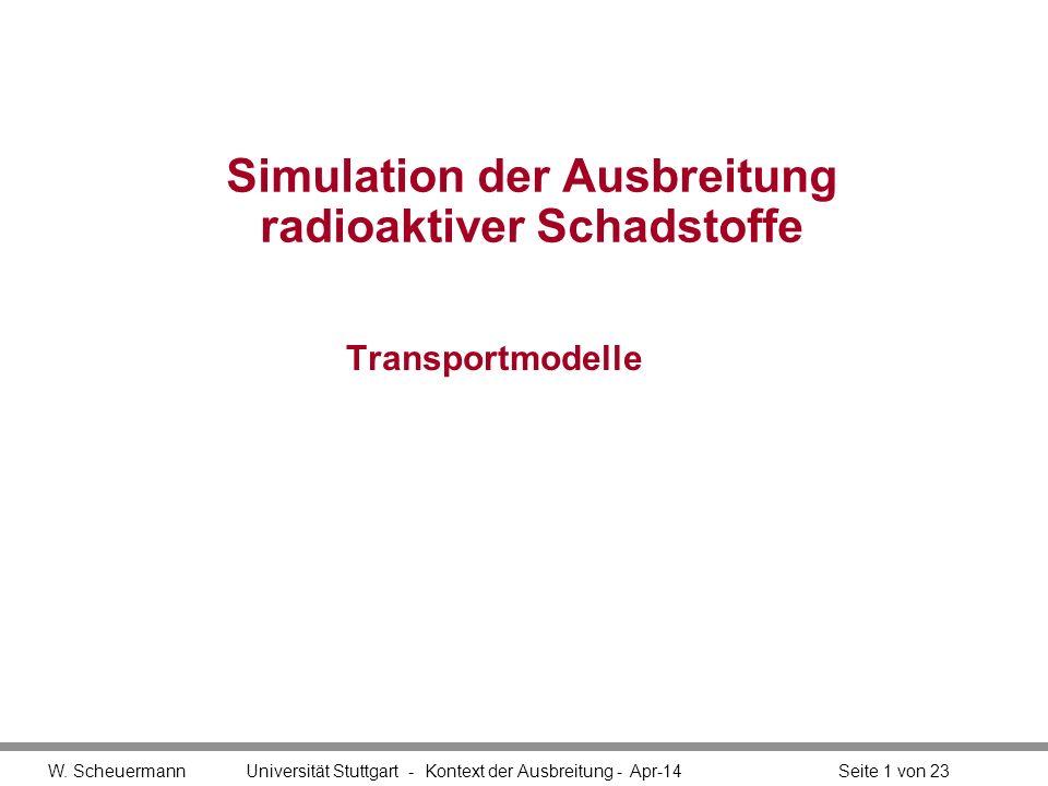 W. Scheuermann Universität Stuttgart - Kontext der Ausbreitung - Apr-14Seite 1 von 23 Simulation der Ausbreitung radioaktiver Schadstoffe Transportmod