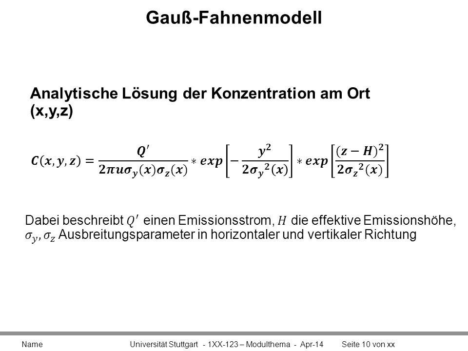Gauß-Fahnenmodell Name Universität Stuttgart - 1XX-123 – Modulthema - Apr-14Seite 10 von xx Analytische Lösung der Konzentration am Ort (x,y,z)