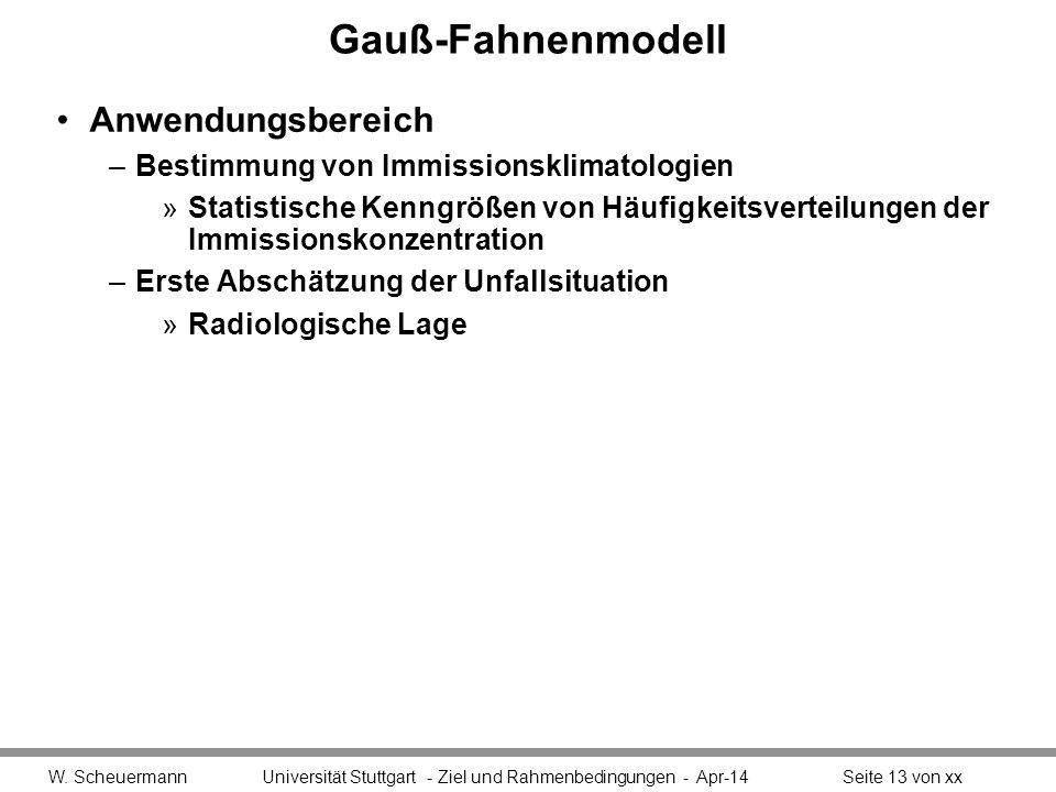 Gauß-Fahnenmodell Anwendungsbereich –Bestimmung von Immissionsklimatologien »Statistische Kenngrößen von Häufigkeitsverteilungen der Immissionskonzent