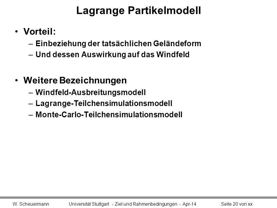 Lagrange Partikelmodell Vorteil: –Einbeziehung der tatsächlichen Geländeform –Und dessen Auswirkung auf das Windfeld Weitere Bezeichnungen –Windfeld-Ausbreitungsmodell –Lagrange-Teilchensimulationsmodell –Monte-Carlo-Teilchensimulationsmodell W.