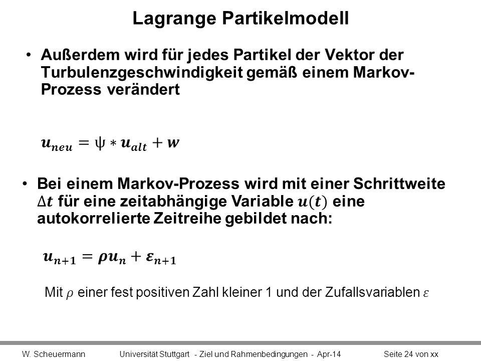 Lagrange Partikelmodell Außerdem wird für jedes Partikel der Vektor der Turbulenzgeschwindigkeit gemäß einem Markov- Prozess verändert W.