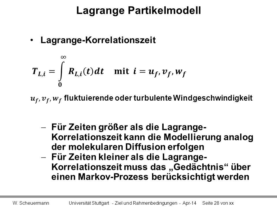 Lagrange Partikelmodell W. Scheuermann Universität Stuttgart - Ziel und Rahmenbedingungen - Apr-14Seite 28 von xx Für Zeiten größer als die Lagrange-