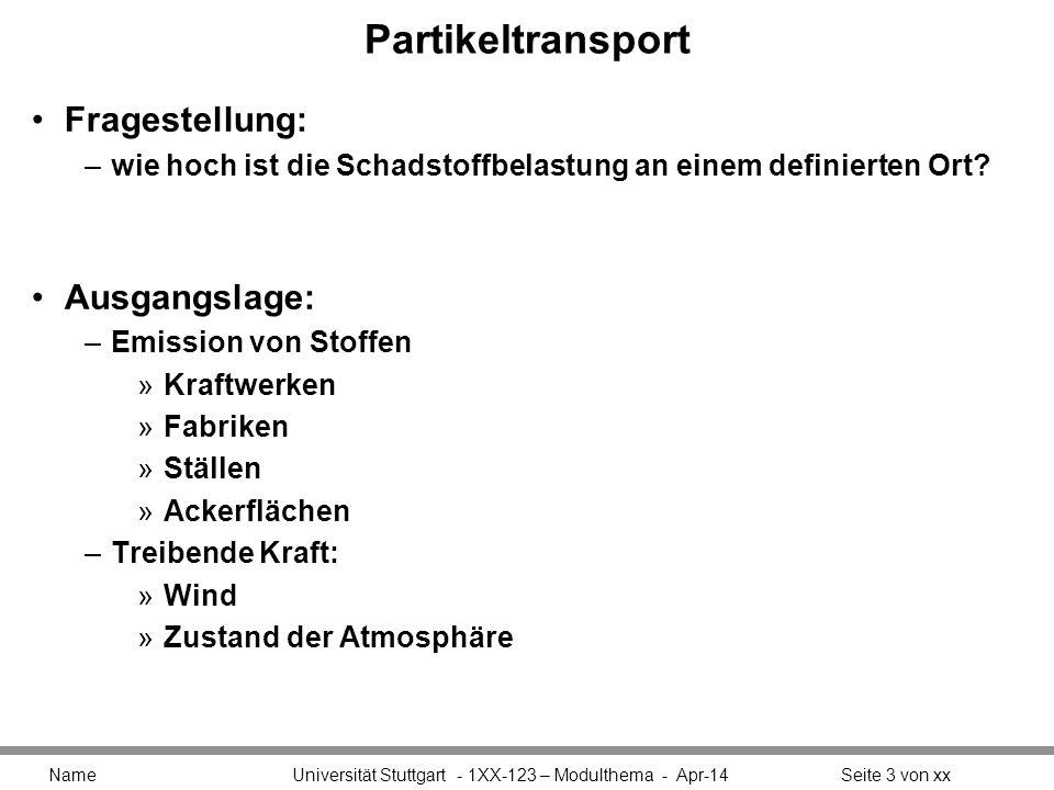 Partikeltransport Fragestellung: –wie hoch ist die Schadstoffbelastung an einem definierten Ort? Ausgangslage: –Emission von Stoffen »Kraftwerken »Fab
