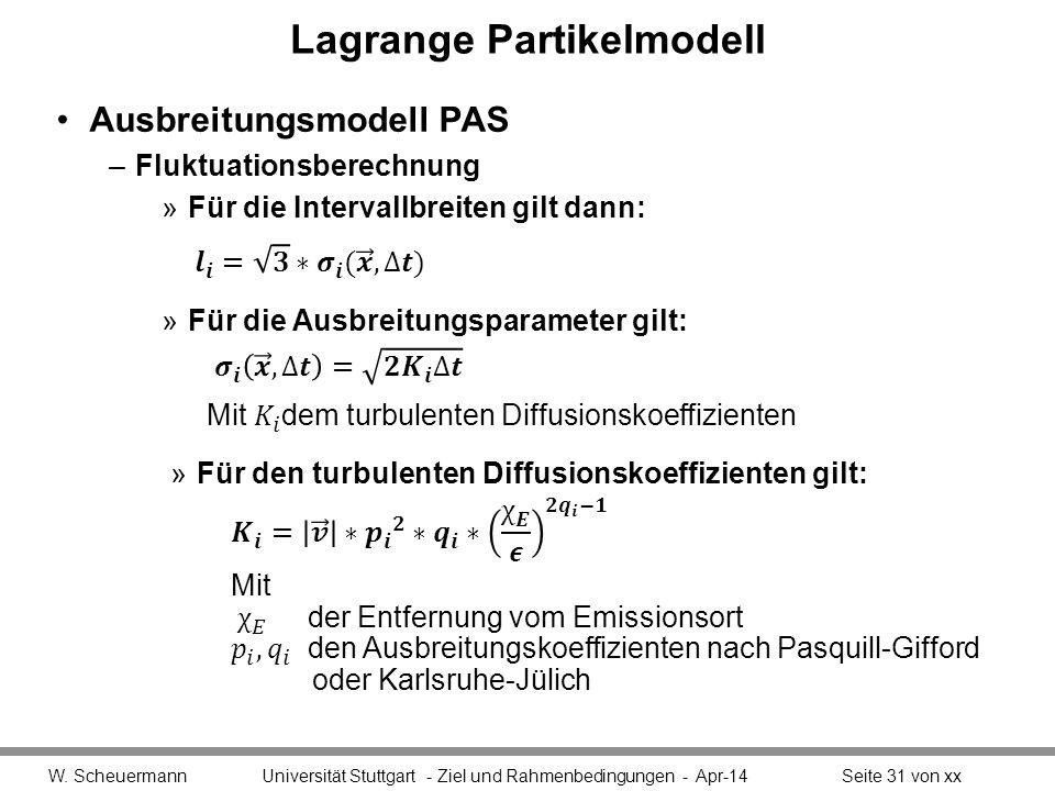 Lagrange Partikelmodell Ausbreitungsmodell PAS –Fluktuationsberechnung »Für die Intervallbreiten gilt dann: W. Scheuermann Universität Stuttgart - Zie