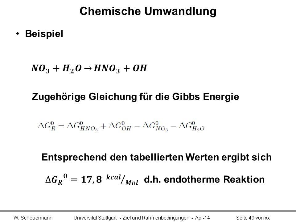 Chemische Umwandlung Beispiel W. Scheuermann Universität Stuttgart - Ziel und Rahmenbedingungen - Apr-14Seite 49 von xx Zugehörige Gleichung für die G