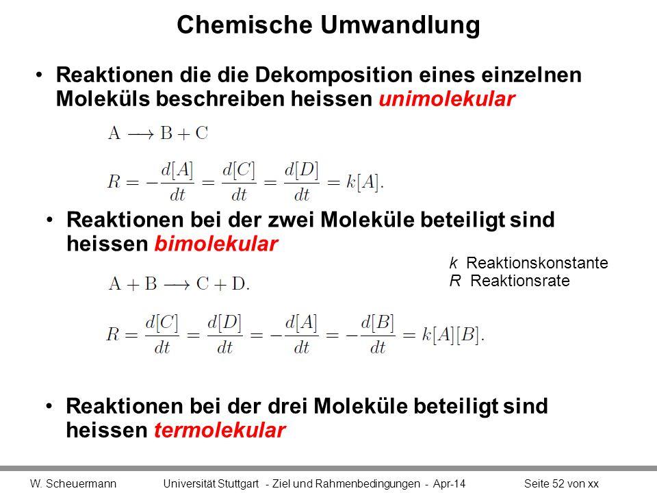 Chemische Umwandlung Reaktionen die die Dekomposition eines einzelnen Moleküls beschreiben heissen unimolekular W. Scheuermann Universität Stuttgart -