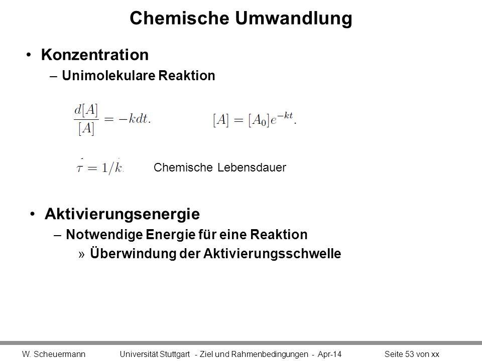 Chemische Umwandlung Konzentration –Unimolekulare Reaktion W. Scheuermann Universität Stuttgart - Ziel und Rahmenbedingungen - Apr-14Seite 53 von xx C