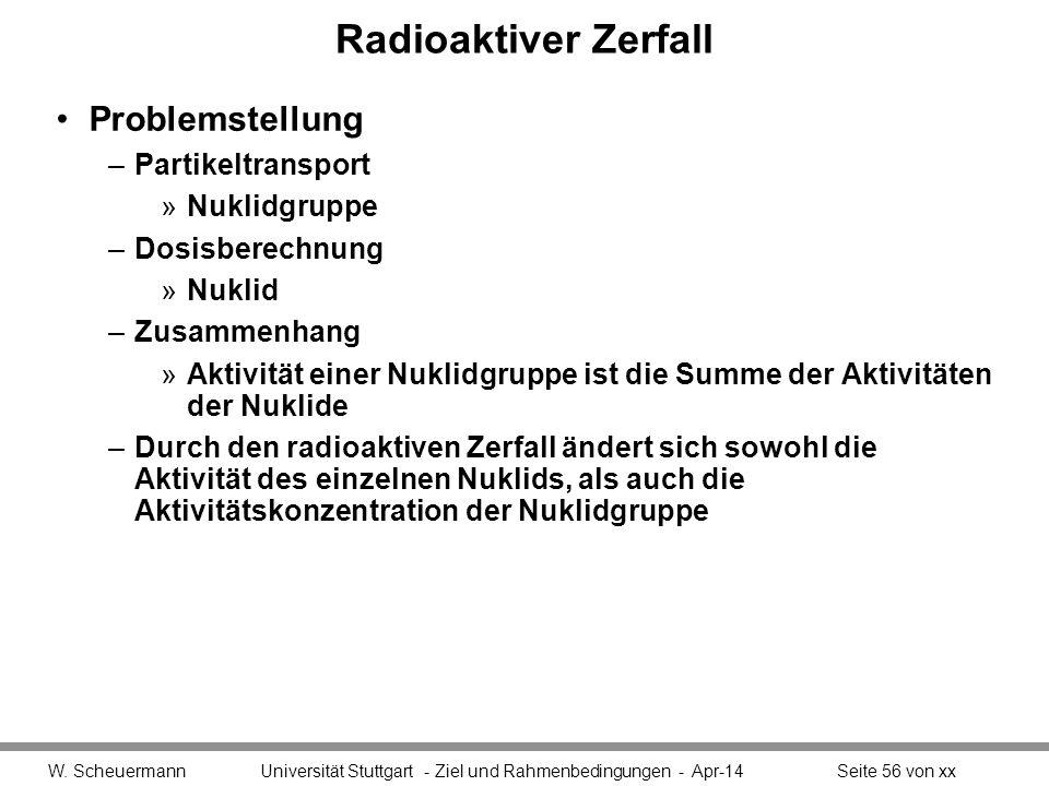 Radioaktiver Zerfall Problemstellung –Partikeltransport »Nuklidgruppe –Dosisberechnung »Nuklid –Zusammenhang »Aktivität einer Nuklidgruppe ist die Sum