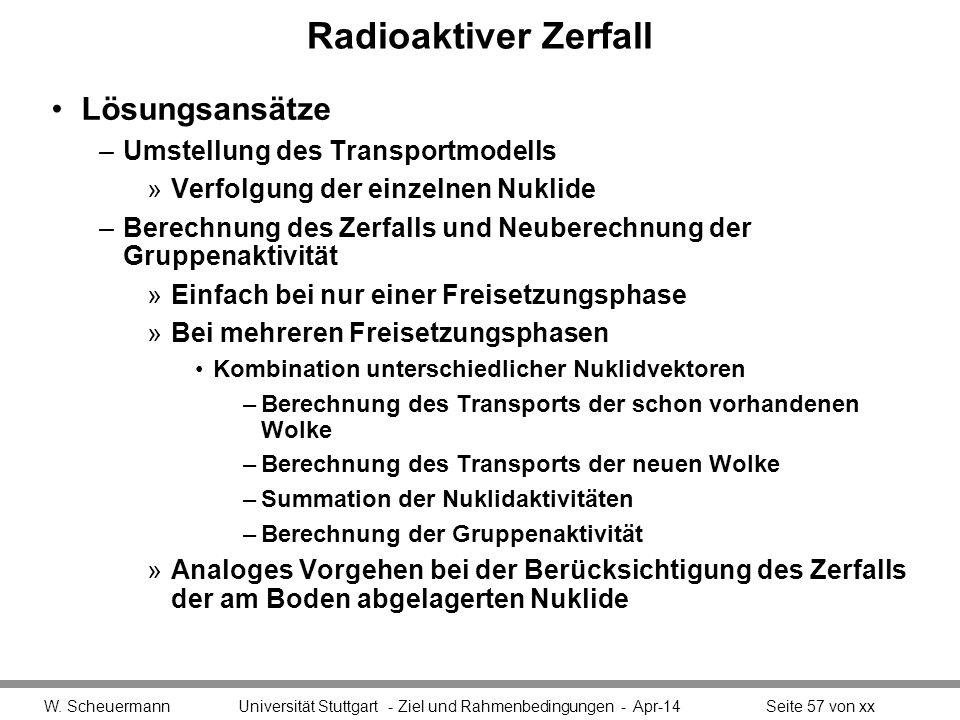 Radioaktiver Zerfall Lösungsansätze –Umstellung des Transportmodells »Verfolgung der einzelnen Nuklide –Berechnung des Zerfalls und Neuberechnung der