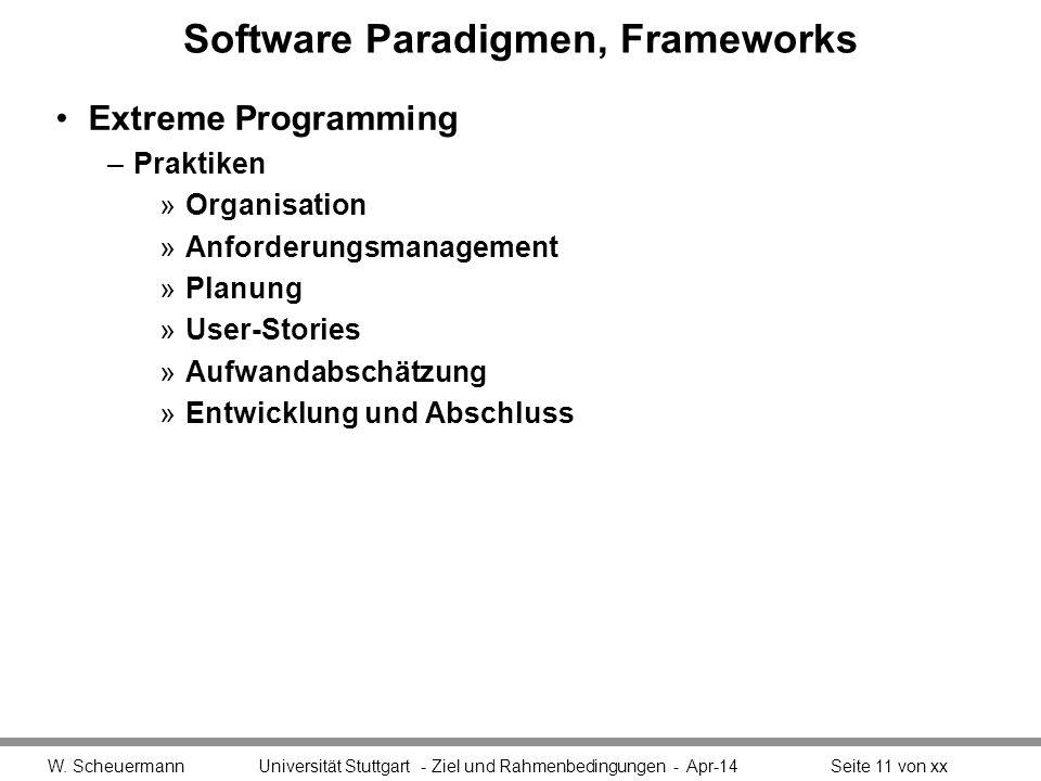 Software Paradigmen, Frameworks Extreme Programming –Praktiken »Organisation »Anforderungsmanagement »Planung »User-Stories »Aufwandabschätzung »Entwicklung und Abschluss W.