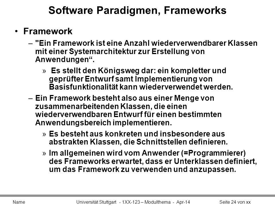 Software Paradigmen, Frameworks Framework – Ein Framework ist eine Anzahl wiederverwendbarer Klassen mit einer Systemarchitektur zur Erstellung von Anwendungen.