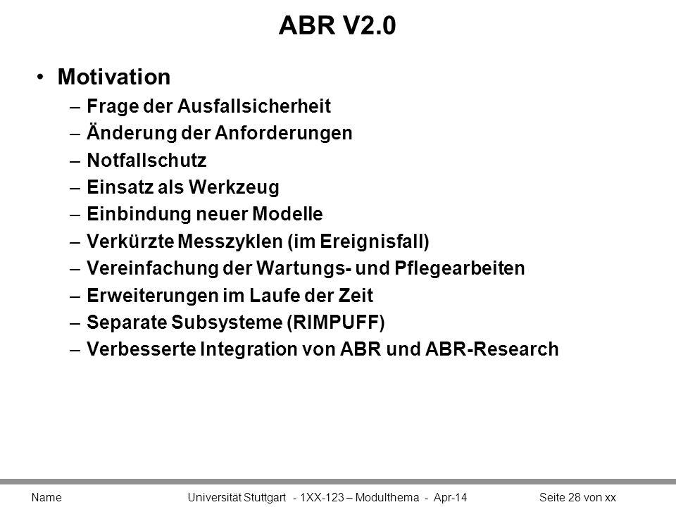 ABR V2.0 Motivation –Frage der Ausfallsicherheit –Änderung der Anforderungen –Notfallschutz –Einsatz als Werkzeug –Einbindung neuer Modelle –Verkürzte Messzyklen (im Ereignisfall) –Vereinfachung der Wartungs- und Pflegearbeiten –Erweiterungen im Laufe der Zeit –Separate Subsysteme (RIMPUFF) –Verbesserte Integration von ABR und ABR-Research Name Universität Stuttgart - 1XX-123 – Modulthema - Apr-14Seite 28 von xx
