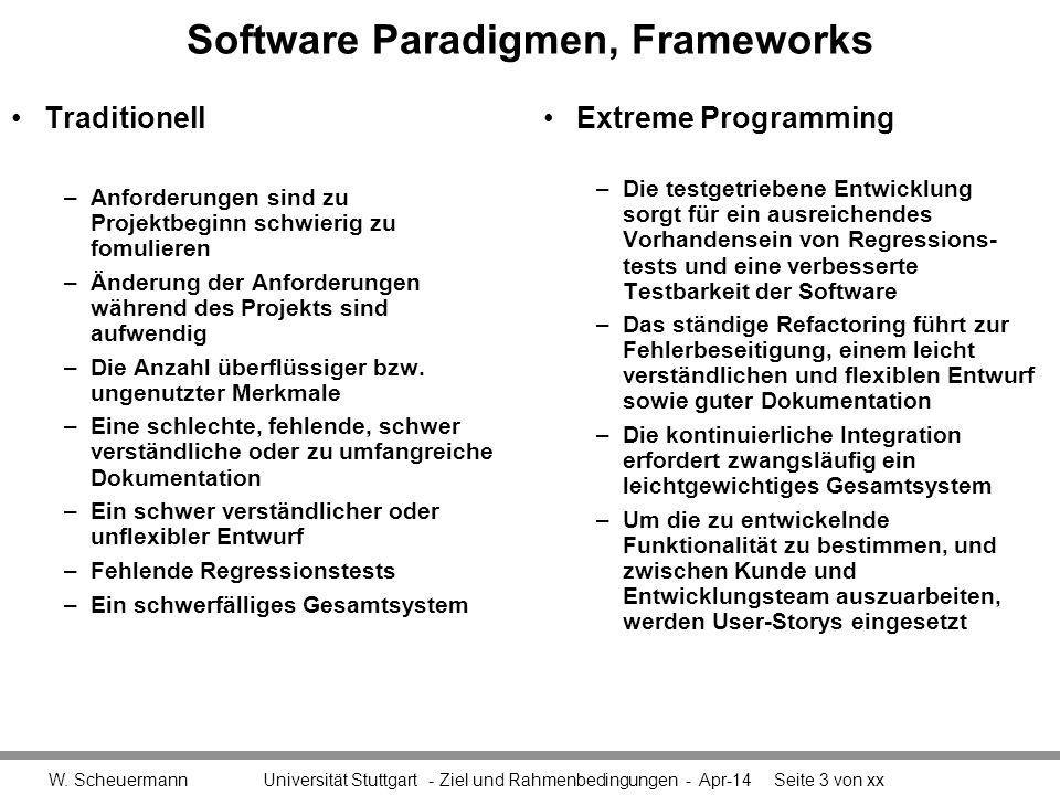 Software Paradigmen, Frameworks Traditionell –Anforderungen sind zu Projektbeginn schwierig zu fomulieren –Änderung der Anforderungen während des Projekts sind aufwendig –Die Anzahl überflüssiger bzw.