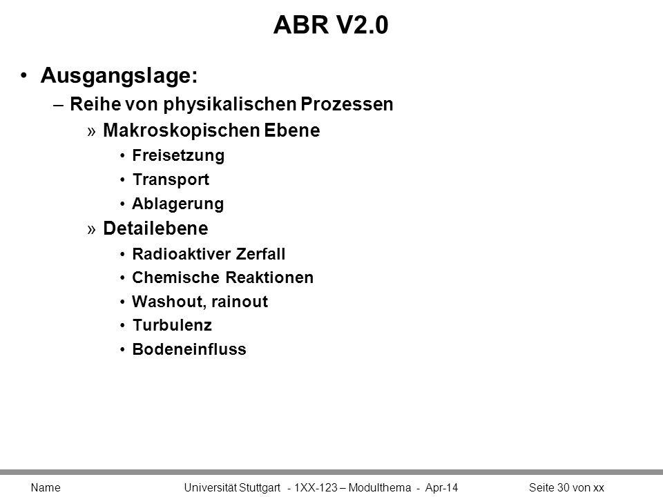 ABR V2.0 Ausgangslage: –Reihe von physikalischen Prozessen »Makroskopischen Ebene Freisetzung Transport Ablagerung »Detailebene Radioaktiver Zerfall Chemische Reaktionen Washout, rainout Turbulenz Bodeneinfluss Name Universität Stuttgart - 1XX-123 – Modulthema - Apr-14Seite 30 von xx