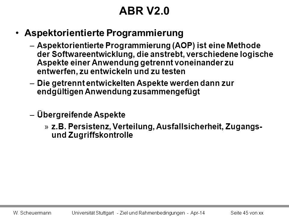 ABR V2.0 Aspektorientierte Programmierung –Aspektorientierte Programmierung (AOP) ist eine Methode der Softwareentwicklung, die anstrebt, verschiedene logische Aspekte einer Anwendung getrennt voneinander zu entwerfen, zu entwickeln und zu testen –Die getrennt entwickelten Aspekte werden dann zur endgültigen Anwendung zusammengefügt –Übergreifende Aspekte »z.B.
