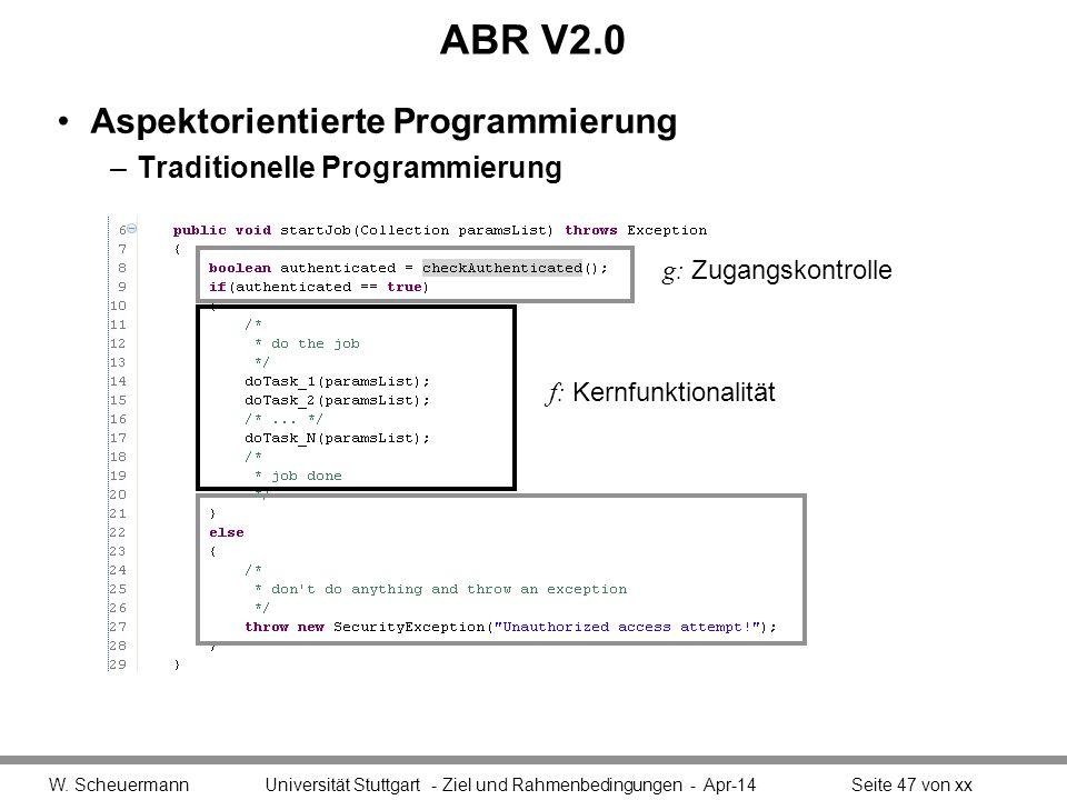 ABR V2.0 Aspektorientierte Programmierung –Traditionelle Programmierung W.