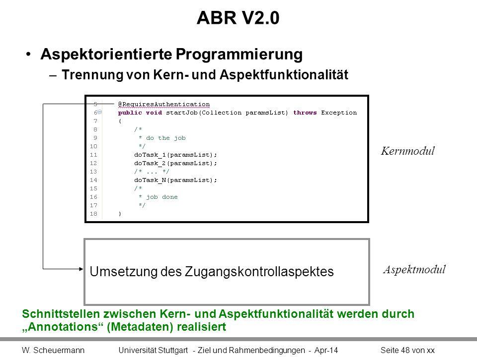 ABR V2.0 Aspektorientierte Programmierung –Trennung von Kern- und Aspektfunktionalität W.