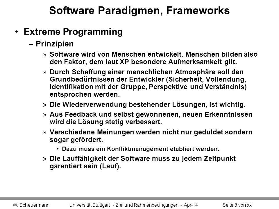 Software Paradigmen, Frameworks Extreme Programming –Prinzipien »Ein offener, konstruktiver Umgang mit den Herausforderungen der Softwareentwicklung gelingt umso besser, je mehr alle Beteiligten bereit sind, ihre Verantwortung zu akzeptieren.