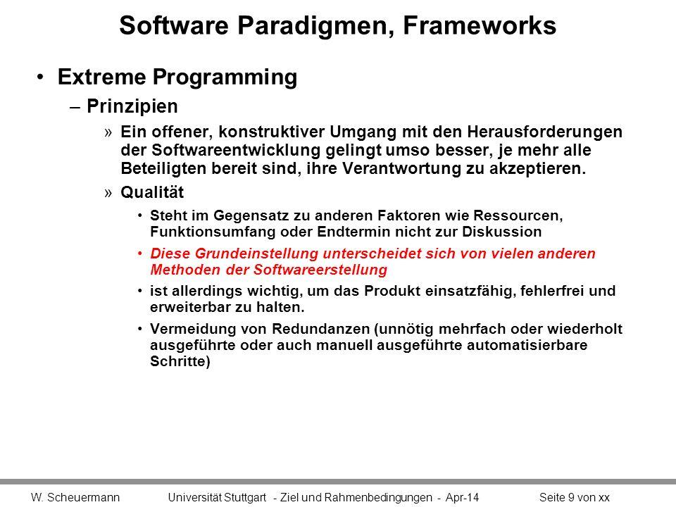 Software Paradigmen, Frameworks Extreme Programming –Prinzipien »Durch schnelle, kleine Schritte bleibt das Team flexibel Kann sich schnell neuen Rahmenbedingungen anpassen und auf Feedback eingehen.
