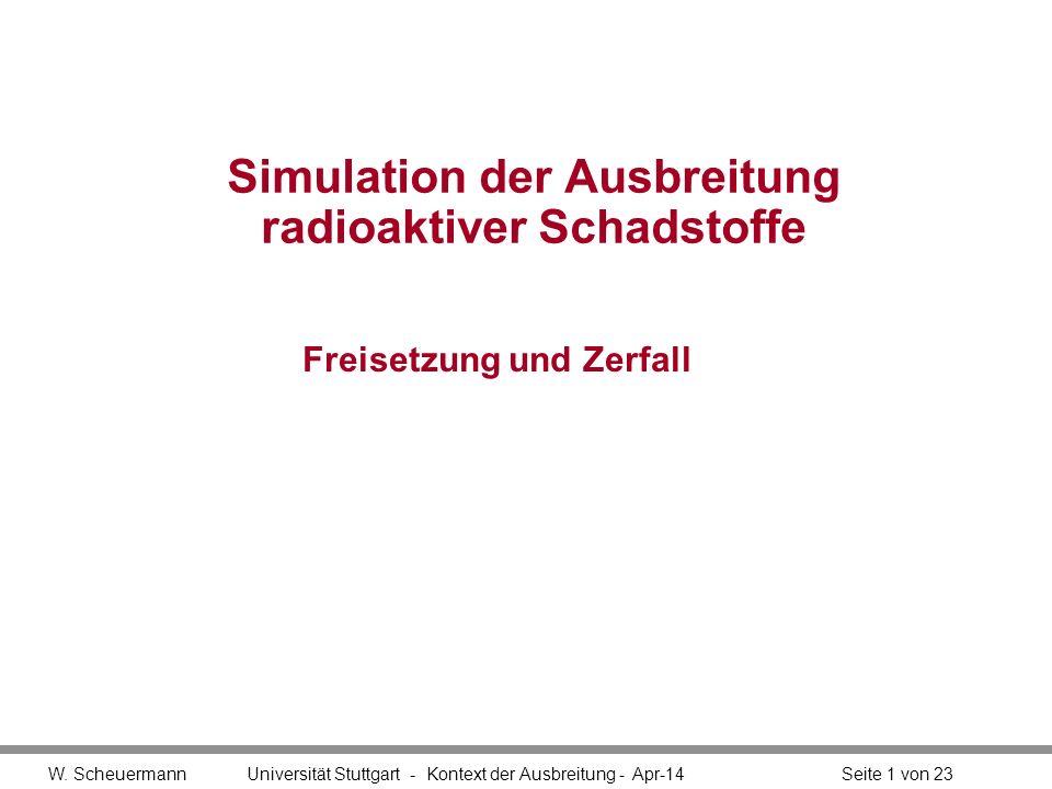 W. Scheuermann Universität Stuttgart - Kontext der Ausbreitung - Apr-14Seite 1 von 23 Simulation der Ausbreitung radioaktiver Schadstoffe Freisetzung