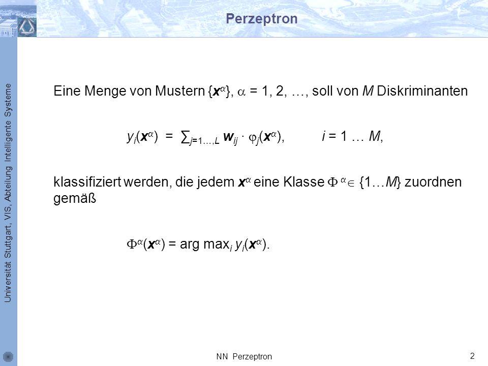 Universität Stuttgart, VIS, Abteilung Intelligente Systeme Perzeptron Eine Menge von Mustern {x }, = 1, 2, …, soll von M Diskriminanten y i (x ) = j=1