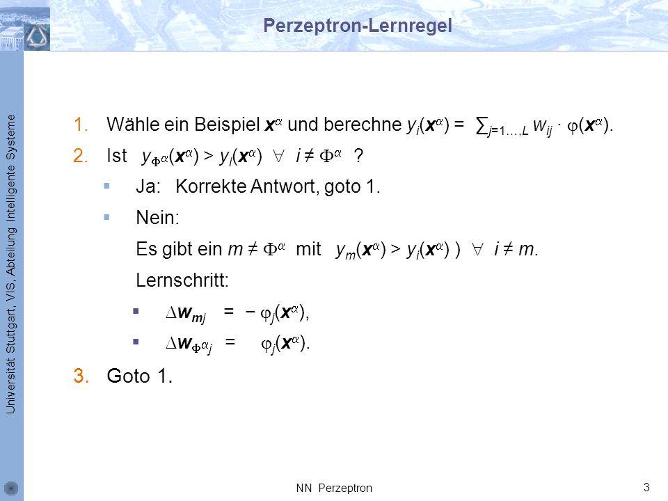 Universität Stuttgart, VIS, Abteilung Intelligente Systeme Perzeptron-Lernregel 1.Wähle ein Beispiel x und berechne y i (x ) = j=1…,L w ij (x ). 2.Ist