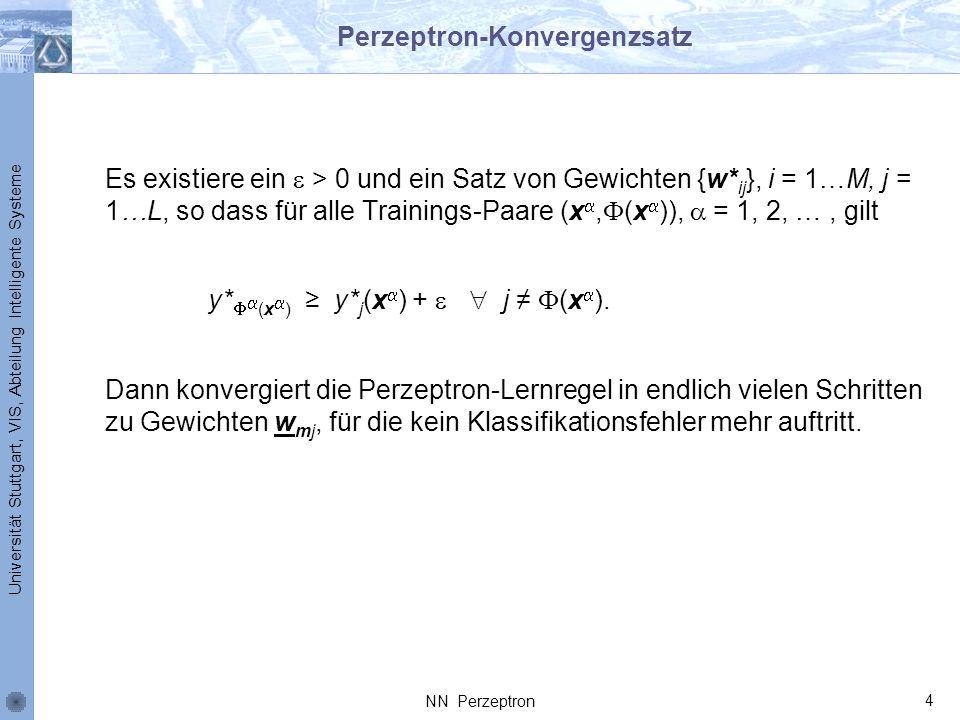 Universität Stuttgart, VIS, Abteilung Intelligente Systeme Perzeptron-Konvergenzsatz Es existiere ein > 0 und ein Satz von Gewichten {w* ij }, i = 1…M