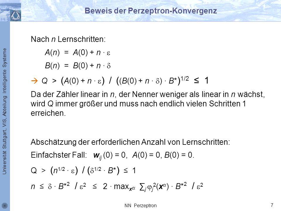 Universität Stuttgart, VIS, Abteilung Intelligente Systeme Beweis der Perzeptron-Konvergenz Nach n Lernschritten: A(n) = A(0) + n B(n) = B(0) + n Q >