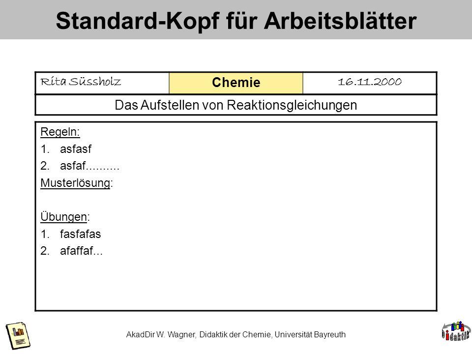 AkadDir W. Wagner, Didaktik der Chemie, Universität Bayreuth Standard-Kopf für Arbeitsblätter Rita Süssholz Chemie 16.11.2000 Das Aufstellen von Reakt