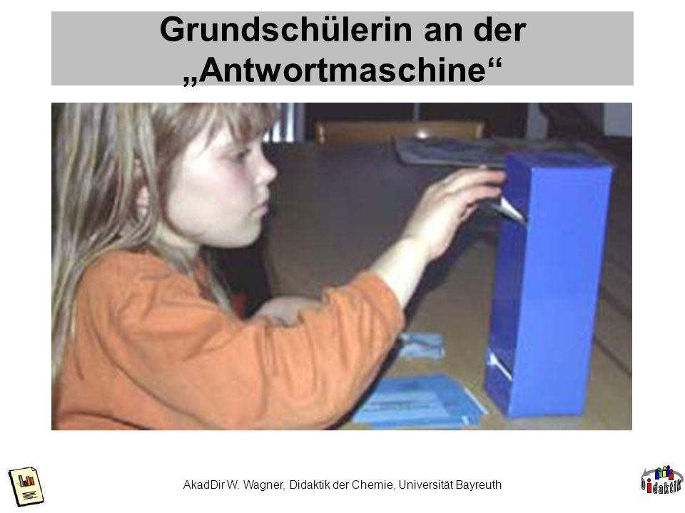 AkadDir W. Wagner, Didaktik der Chemie, Universität Bayreuth Grundschülerin an der Antwortmaschine