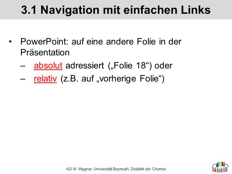 AD W. Wagner, Universität Bayreuth, Didaktik der Chemie 2.2 Planung der gewünschten Effekte Logisch und fachlich sinnvolle Schrittfolge Reflektor Turb