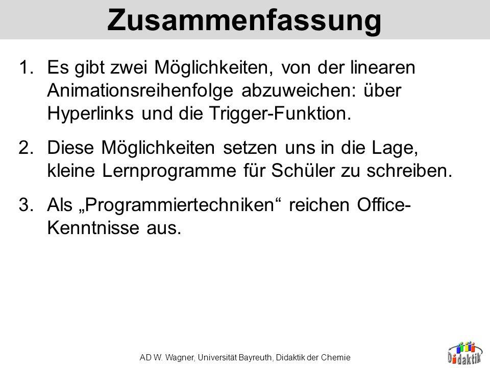 AD W. Wagner, Universität Bayreuth, Didaktik der Chemie Die 100-Euro-Frage. Wonach schmecken die grünen Haribo-Gummibärchen? A: nach KiwiB: nach Apfel