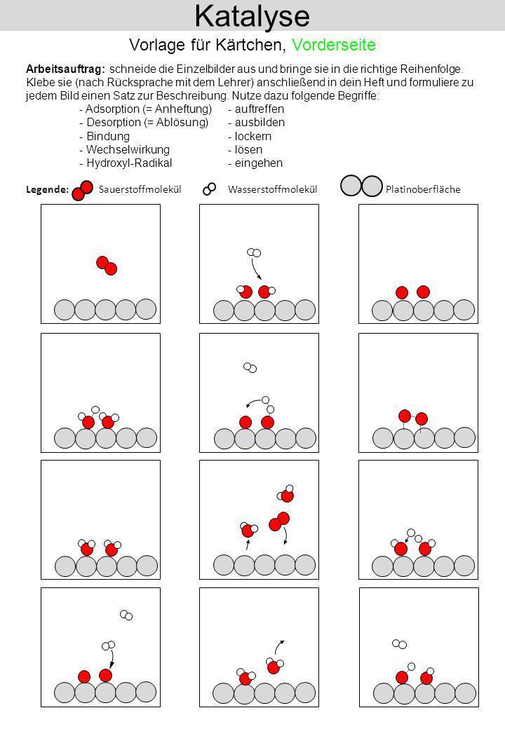 Sauerstoff-Moleküle aus der Luft treffen auf die Platin- Oberfläche und heften sich dort an (Adsorption von Sauerstoff-Mole- külen).