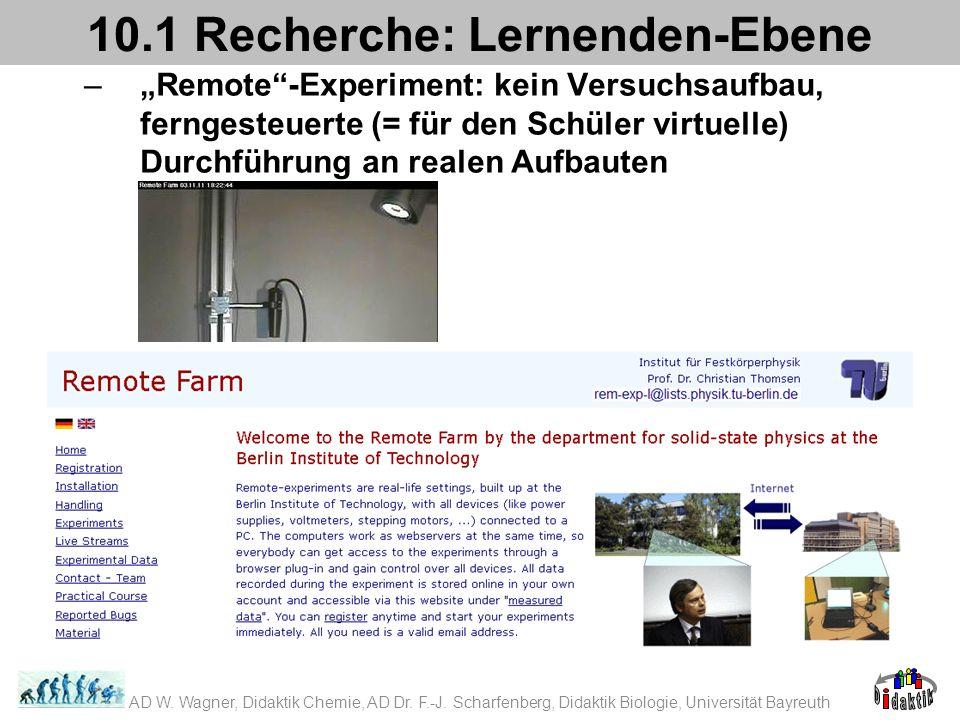 –Remote-Experiment: kein Versuchsaufbau, ferngesteuerte (= für den Schüler virtuelle) Durchführung an realen Aufbauten 10.1 Recherche: Lernenden-Ebene AD W.