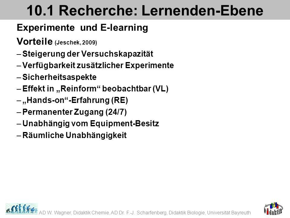 Experimente und E-learning Vorteile (Jeschek, 2009) –Steigerung der Versuchskapazität –Verfügbarkeit zusätzlicher Experimente –Sicherheitsaspekte –Effekt in Reinform beobachtbar (VL) –Hands-on-Erfahrung (RE) –Permanenter Zugang (24/7) –Unabhängig vom Equipment-Besitz –Räumliche Unabhängigkeit 10.1 Recherche: Lernenden-Ebene AD W.
