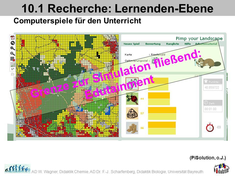 Computerspiele für den Unterricht 10.1 Recherche: Lernenden-Ebene (PiSolution, o.J.) Grenze zur Simulation fließend: Edutainment AD W. Wagner, Didakti