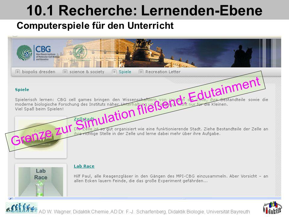 Computerspiele für den Unterricht 10.1 Recherche: Lernenden-Ebene Grenze zur Simulation fließend: Edutainment AD W. Wagner, Didaktik Chemie, AD Dr. F.