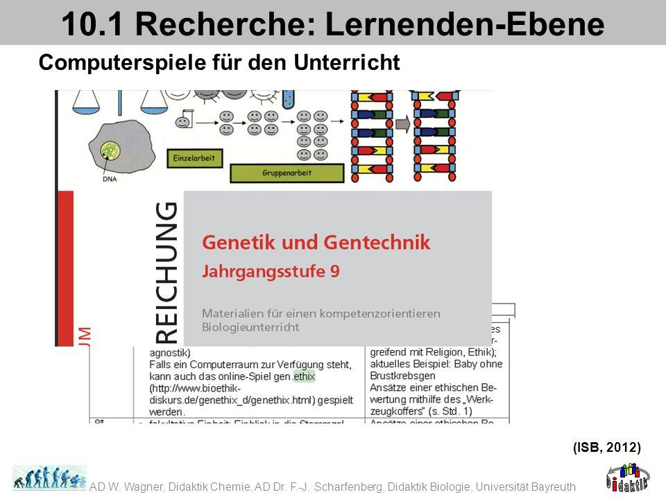 Computerspiele für den Unterricht 10.1 Recherche: Lernenden-Ebene (ISB, 2012) AD W. Wagner, Didaktik Chemie, AD Dr. F.-J. Scharfenberg, Didaktik Biolo
