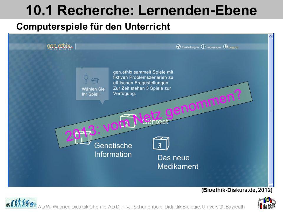 Computerspiele für den Unterricht 10.1 Recherche: Lernenden-Ebene (Bioethik-Diskurs.de, 2012) 2013: vom Netz genommen? AD W. Wagner, Didaktik Chemie,