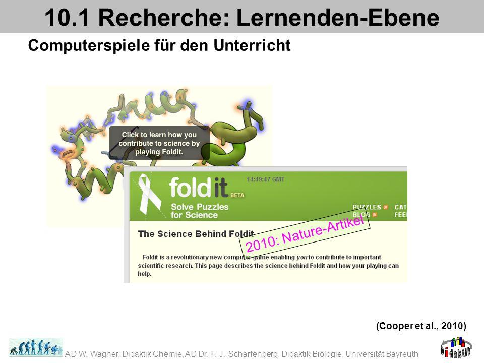 Computerspiele für den Unterricht 10.1 Recherche: Lernenden-Ebene (Cooper et al., 2010) 2010: Nature-Artikel AD W. Wagner, Didaktik Chemie, AD Dr. F.-
