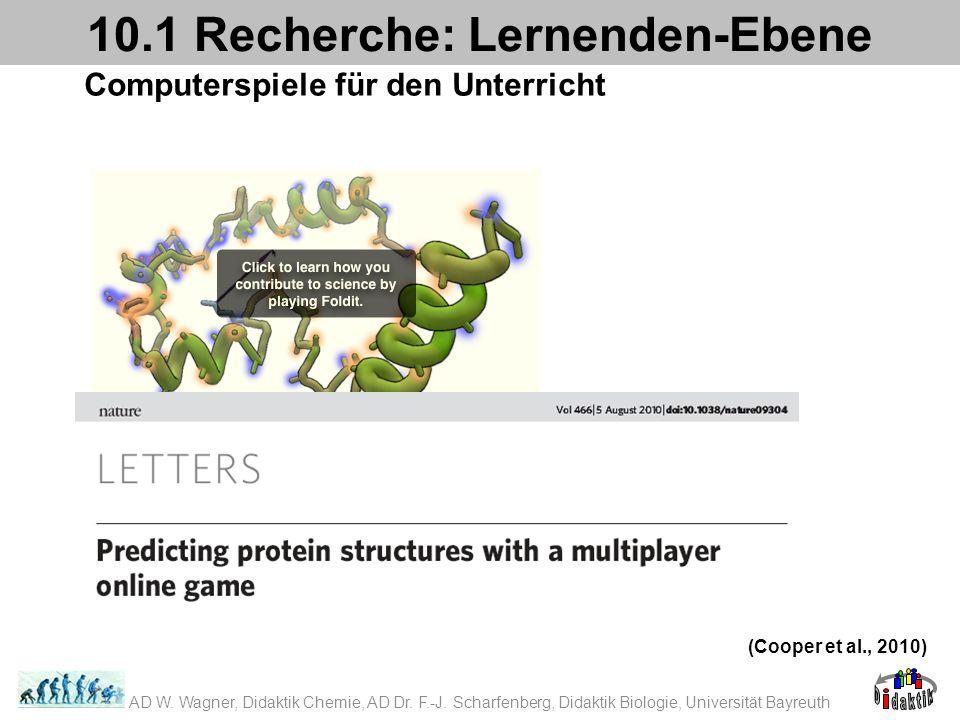 Computerspiele für den Unterricht 10.1 Recherche: Lernenden-Ebene (Cooper et al., 2010) AD W. Wagner, Didaktik Chemie, AD Dr. F.-J. Scharfenberg, Dida