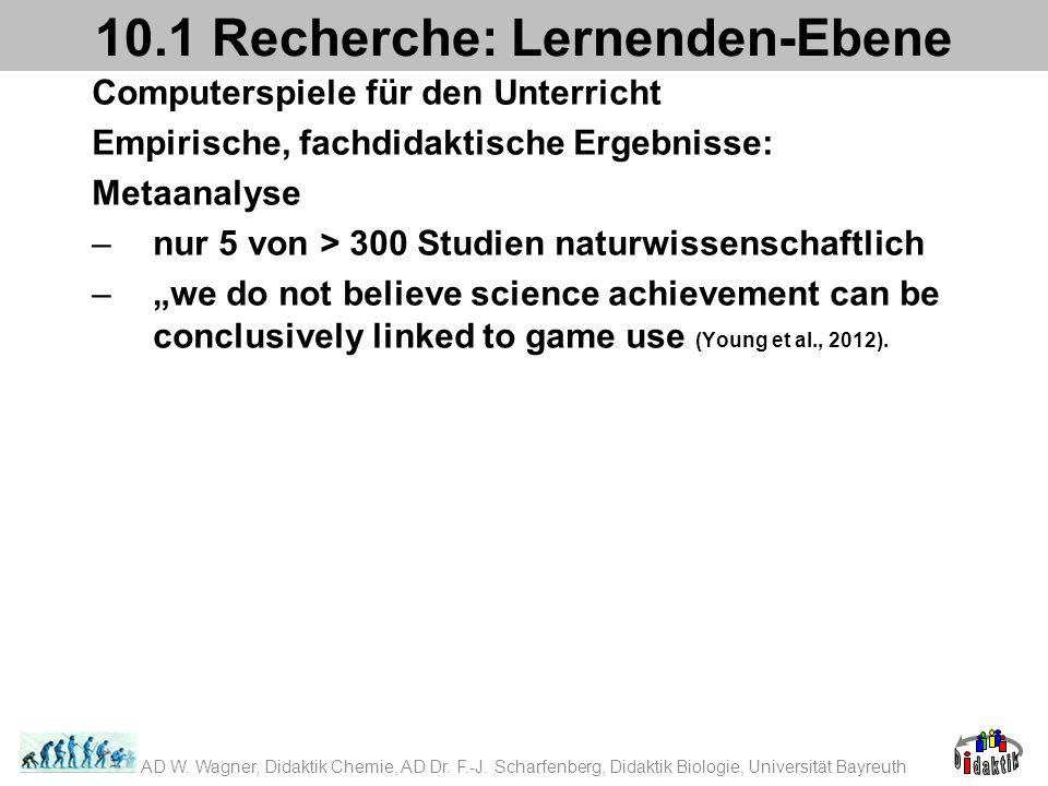 Computerspiele für den Unterricht Empirische, fachdidaktische Ergebnisse: Metaanalyse –nur 5 von > 300 Studien naturwissenschaftlich –we do not believe science achievement can be conclusively linked to game use (Young et al., 2012).