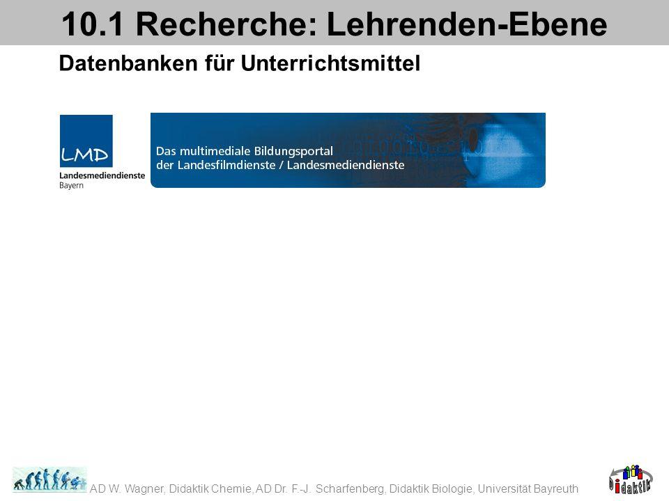 Datenbanken für Unterrichtsmittel 10.1 Recherche: Lehrenden-Ebene AD W. Wagner, Didaktik Chemie, AD Dr. F.-J. Scharfenberg, Didaktik Biologie, Univers