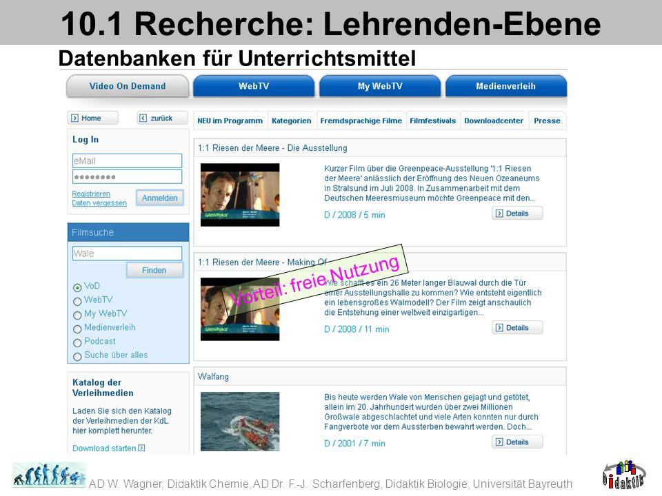 Datenbanken für Unterrichtsmittel 10.1 Recherche: Lehrenden-Ebene Vorteil: freie Nutzung AD W. Wagner, Didaktik Chemie, AD Dr. F.-J. Scharfenberg, Did