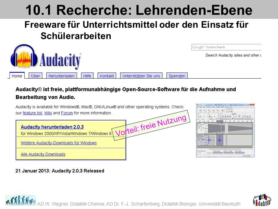 Freeware für Unterrichtsmittel oder den Einsatz für Schülerarbeiten 10.1 Recherche: Lehrenden-Ebene Vorteil: freie Nutzung AD W. Wagner, Didaktik Chem