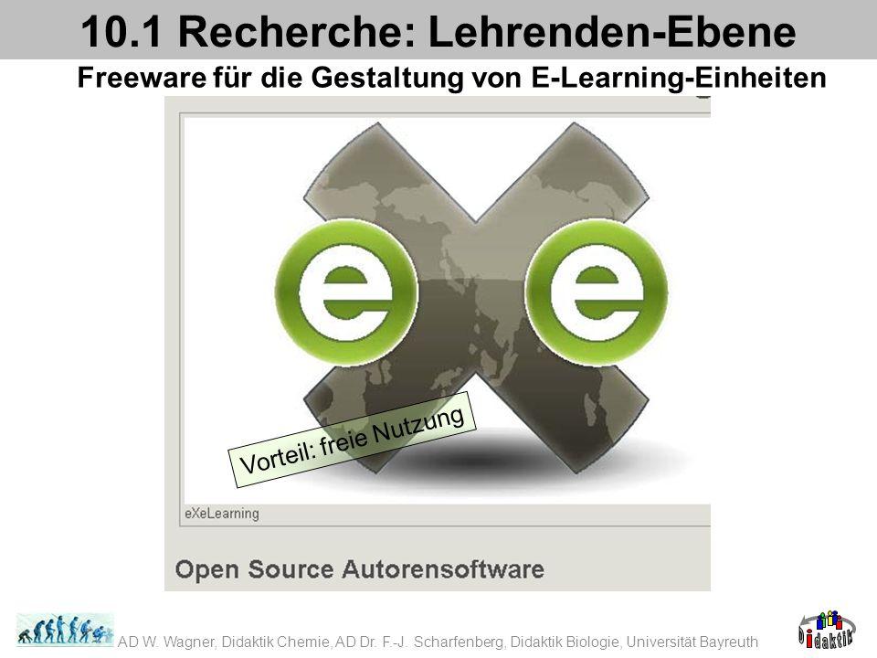 Freeware für die Gestaltung von E-Learning-Einheiten 10.1 Recherche: Lehrenden-Ebene Vorteil: freie Nutzung AD W. Wagner, Didaktik Chemie, AD Dr. F.-J