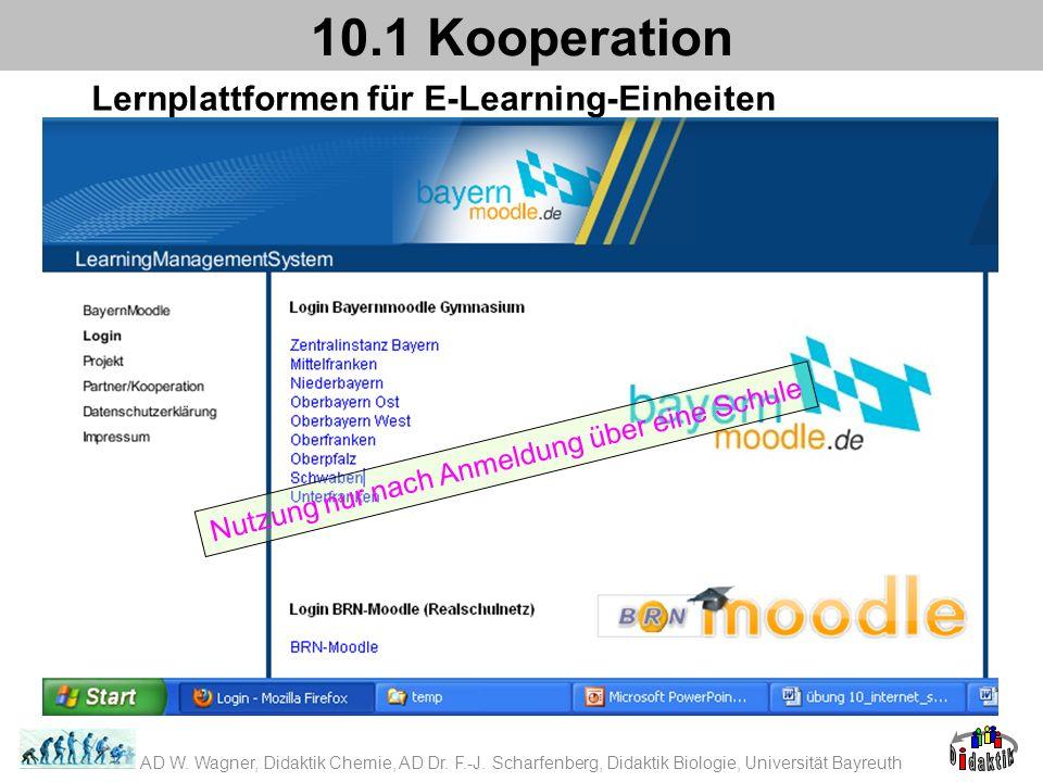 Lernplattformen für E-Learning-Einheiten 10.1 Kooperation Nutzung nur nach Anmeldung über eine Schule AD W. Wagner, Didaktik Chemie, AD Dr. F.-J. Scha