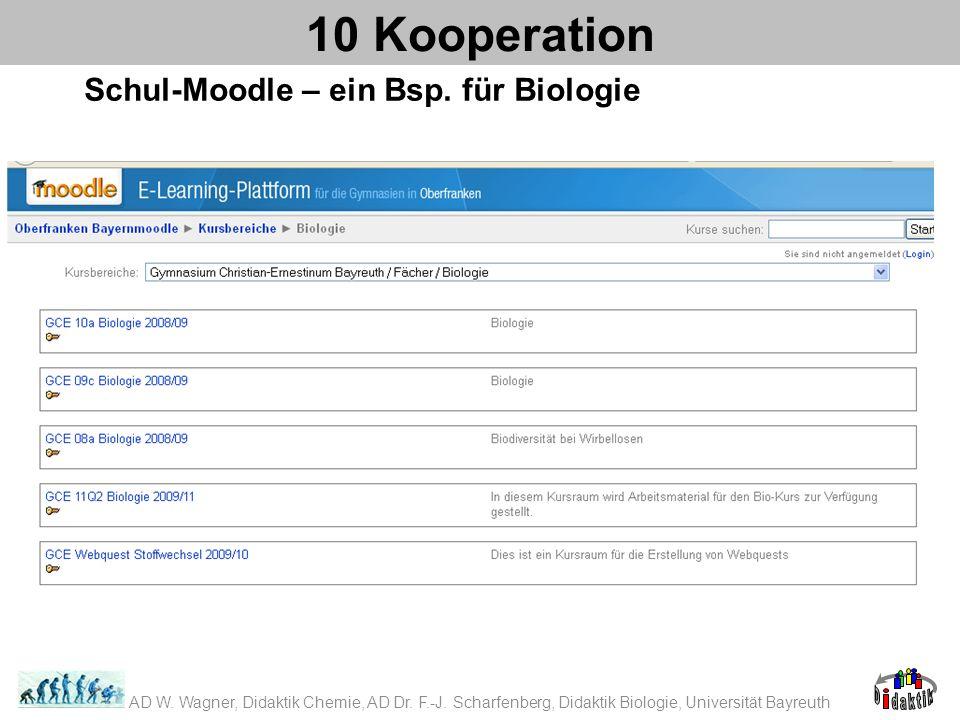 Schul-Moodle – ein Bsp. für Biologie 10 Kooperation AD W. Wagner, Didaktik Chemie, AD Dr. F.-J. Scharfenberg, Didaktik Biologie, Universität Bayreuth