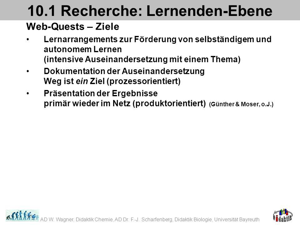 Web-Quests – Ziele Lernarrangements zur Förderung von selbständigem und autonomem Lernen (intensive Auseinandersetzung mit einem Thema) Dokumentation der Auseinandersetzung Weg ist ein Ziel (prozessorientiert) Präsentation der Ergebnisse primär wieder im Netz (produktorientiert) (Günther & Moser, o.J.) 10.1 Recherche: Lernenden-Ebene AD W.